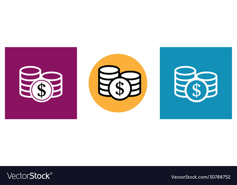 Set modern big coin icons in different colors