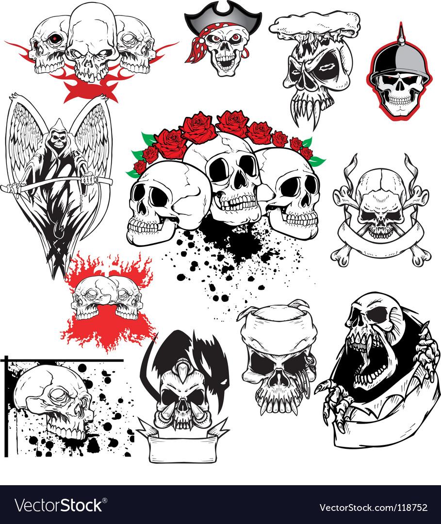Skull tattoo set