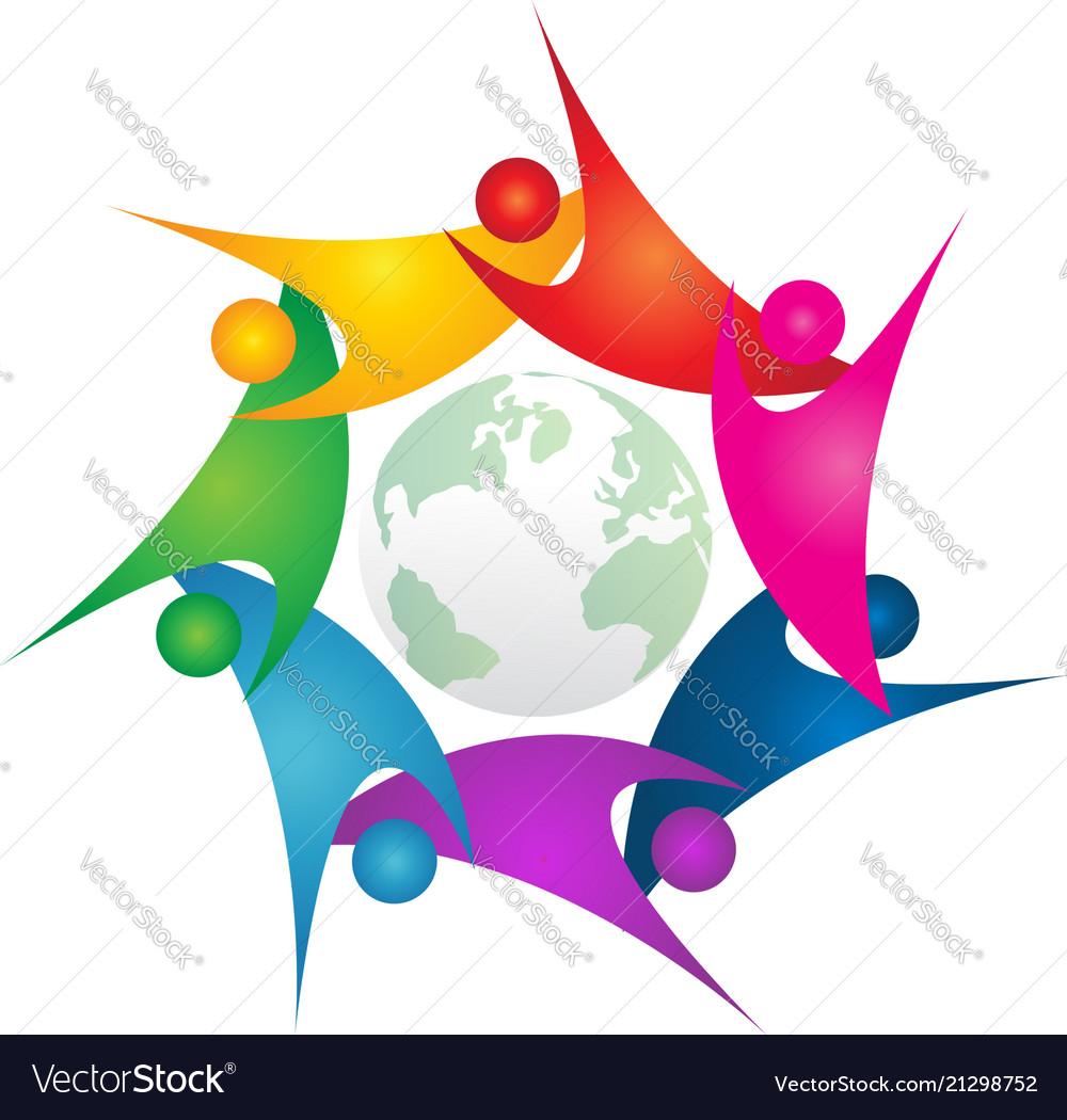 Teamwork swoosh people around green world logo