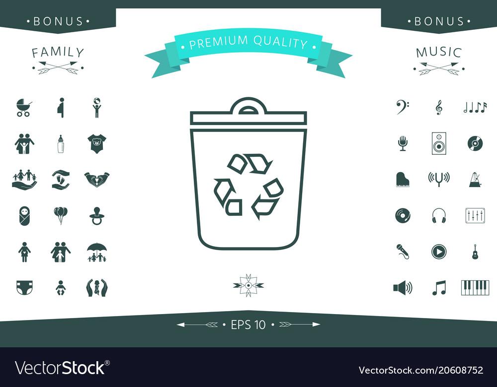 Trash Can Recycle Bin Symbol Icon Royalty Free Vector Image