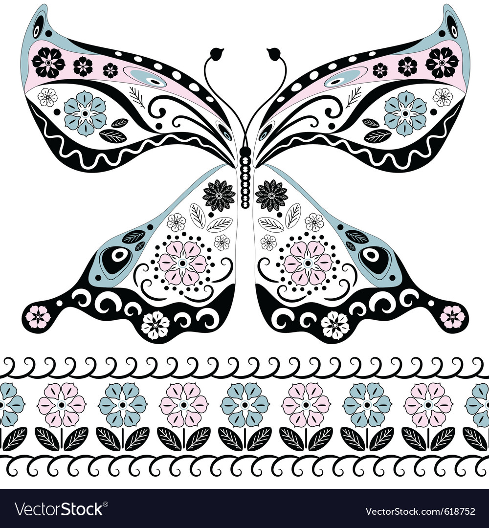 Vintage decorative butterfly vector image