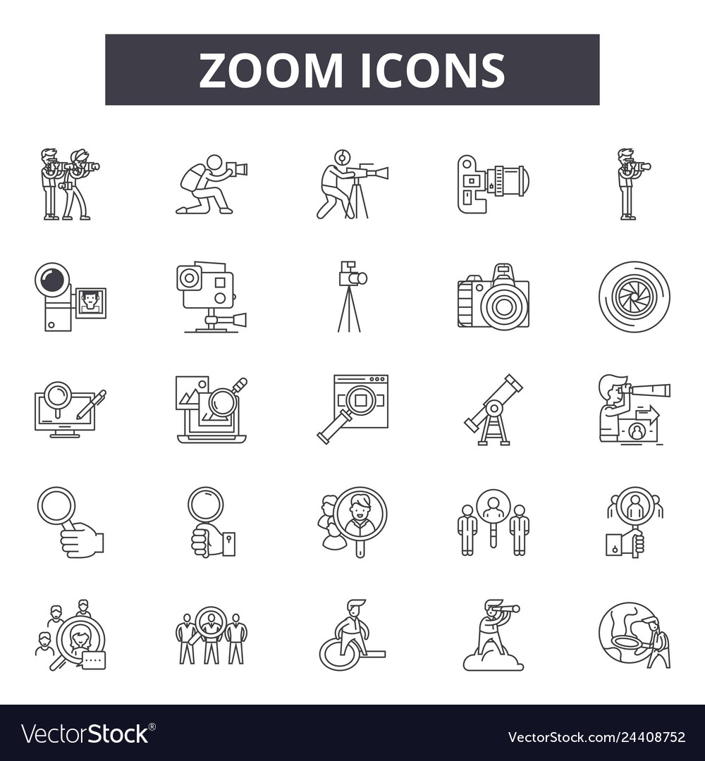 Zoom line icons for web and mobile design