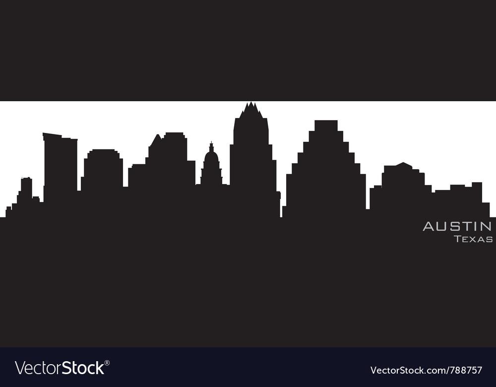 Austin texas skyline detailed silhouette
