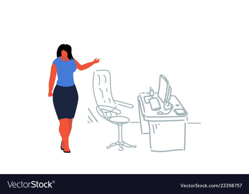 Businesswoman pointing modern workplace female