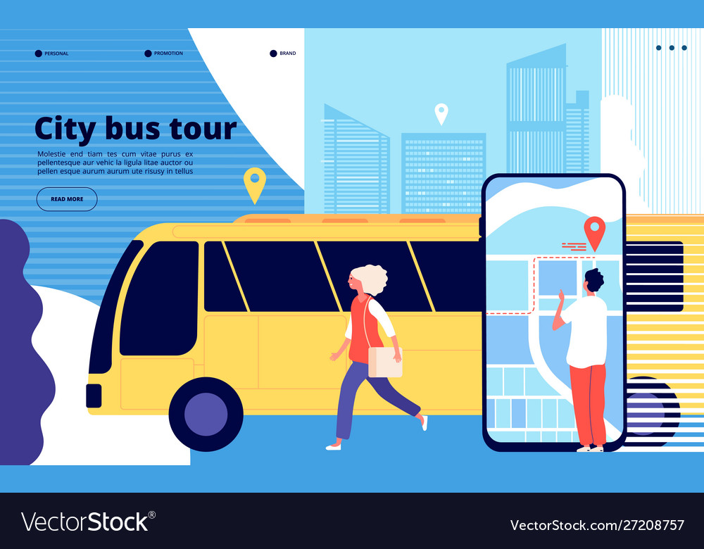 City bus tour tourists and urban bus vehicle with