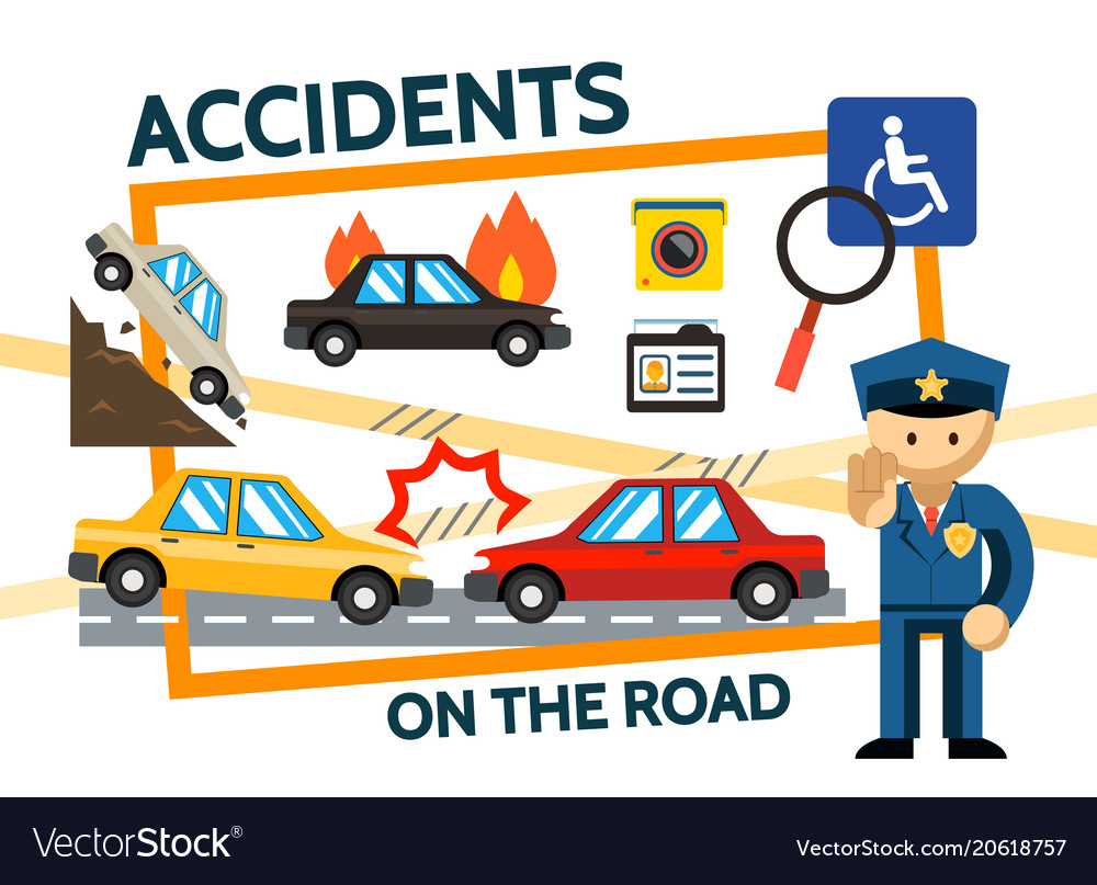 Flat road accidents composition vector image