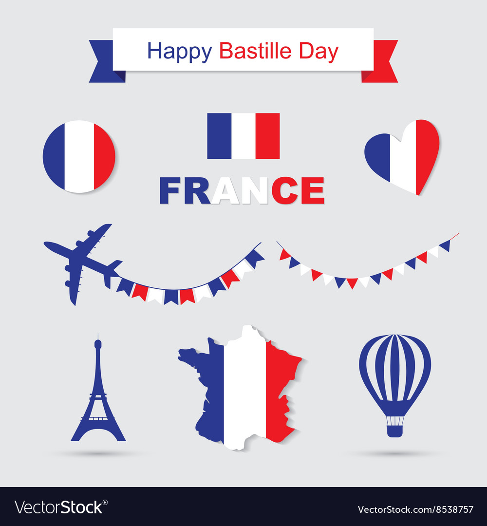 French flag and map icons set Eiffel Tower icon