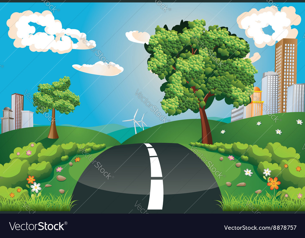 Green Field and City vector image