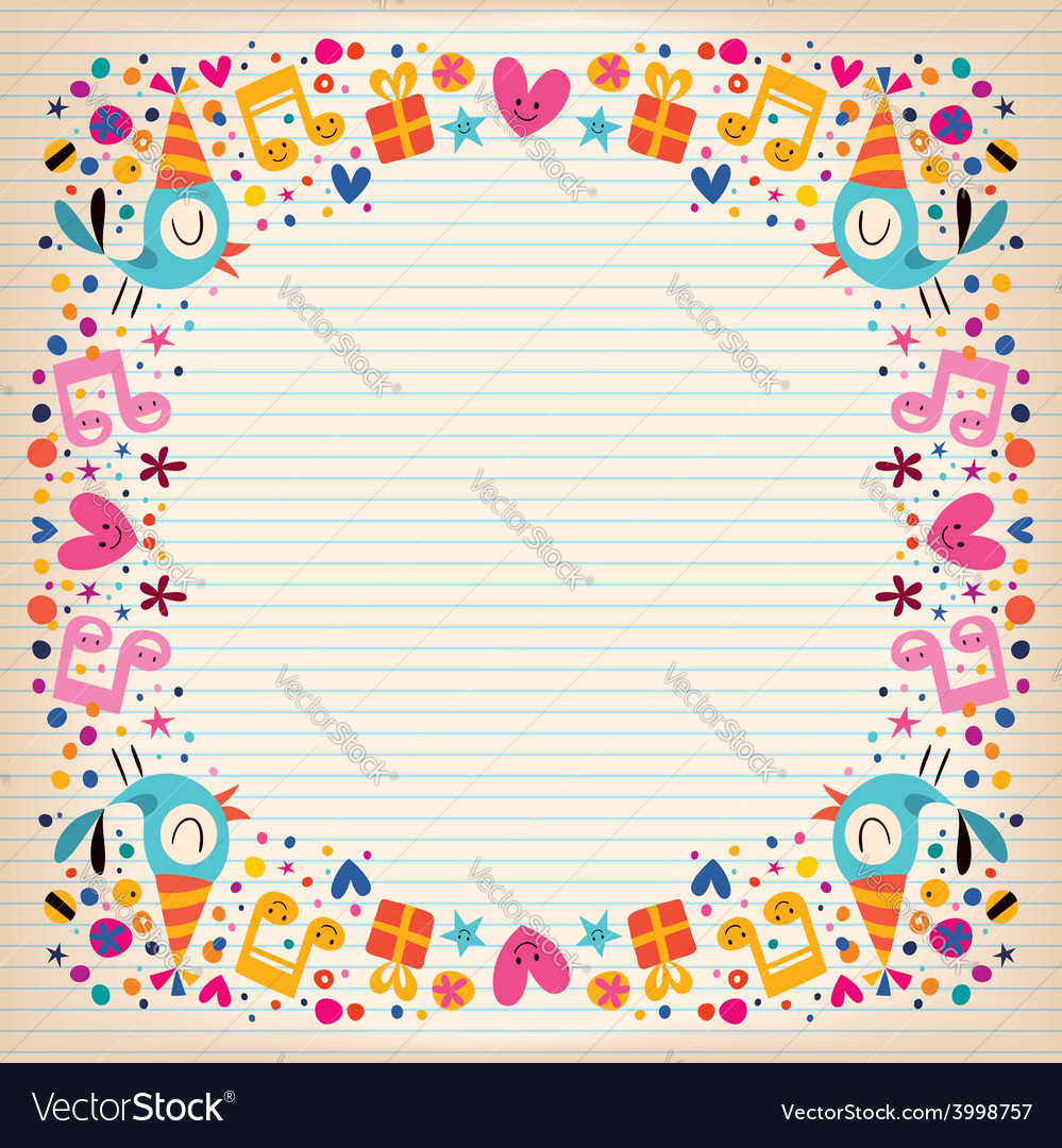 happy birthday border lined paper card royalty free vector