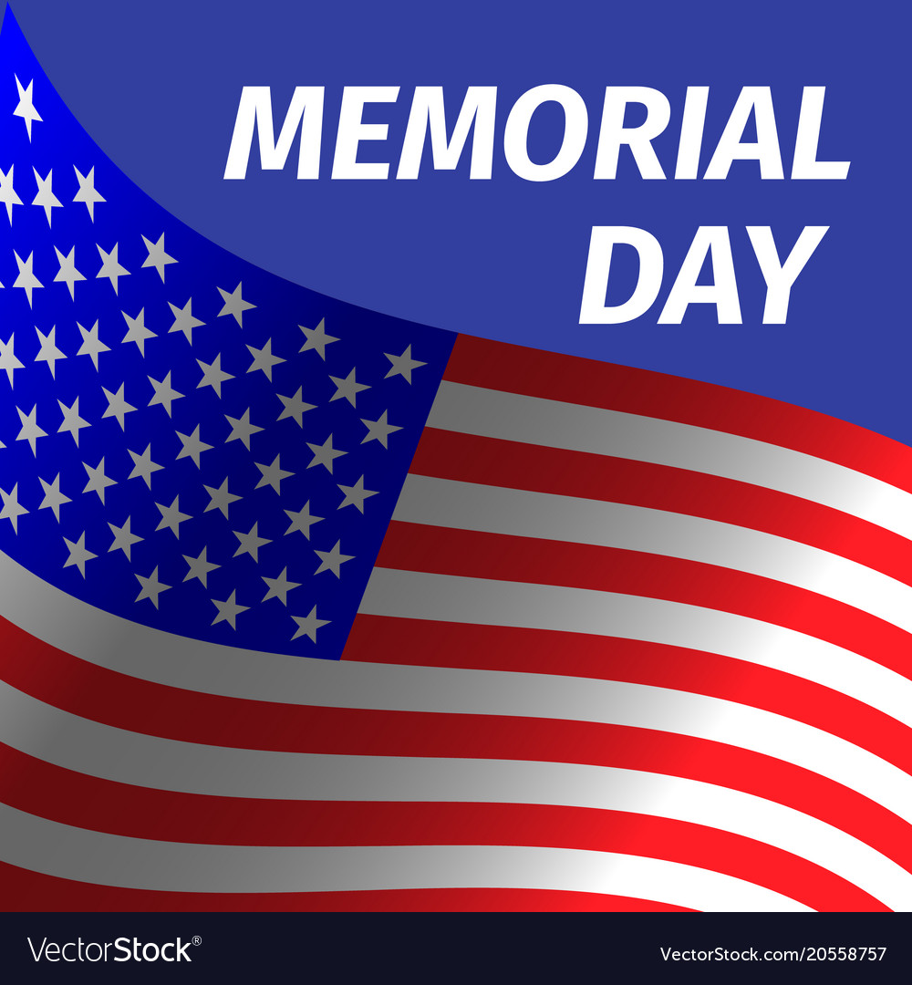 Memorial day design with flag