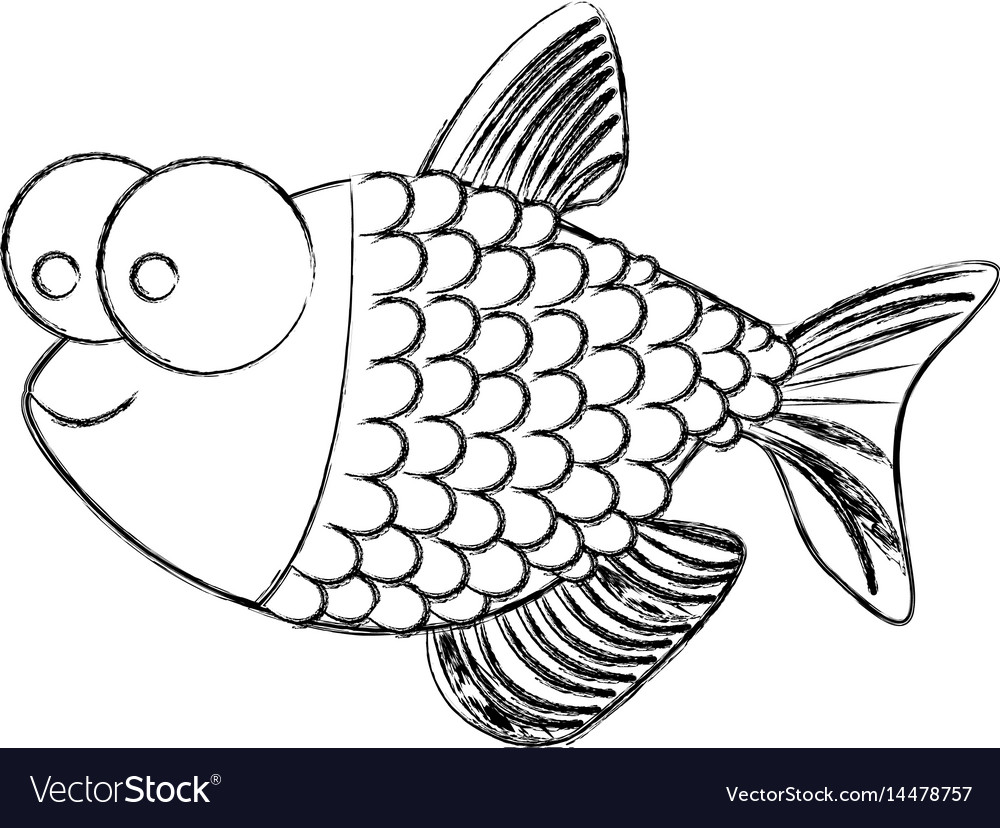 Monochrome sketch of fish with big eyes and scales