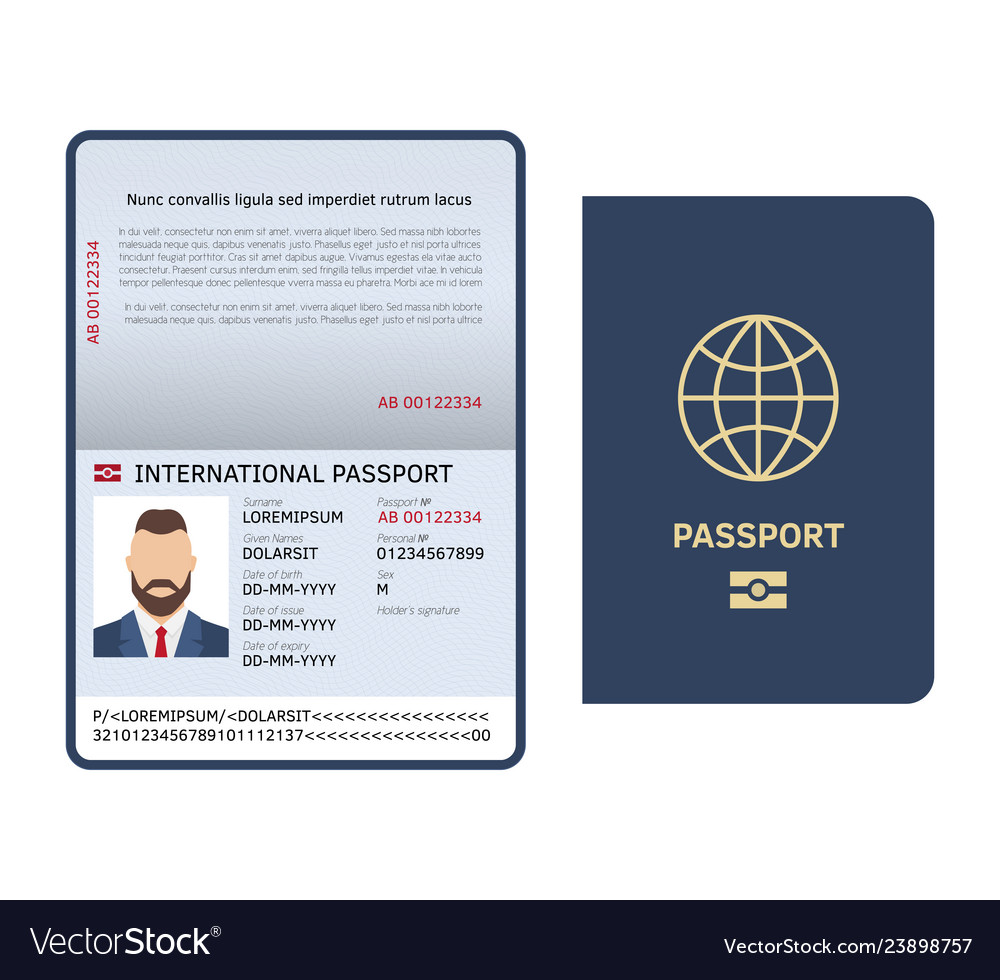 Open passport id document male photo page legal