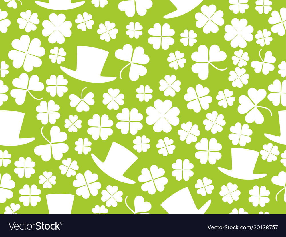 Patricks day seamless pattern with green clover