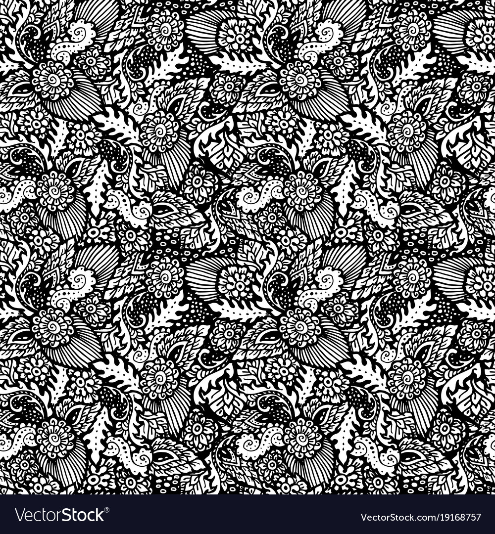 Seamless pattern with floral items hand-drawn