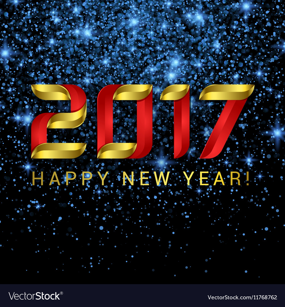 2017 Happy New Year greeting card with blue stars