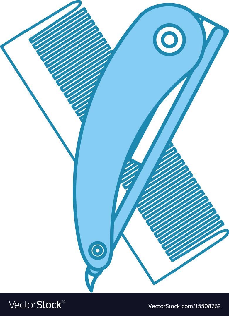Barbershop comb with razor