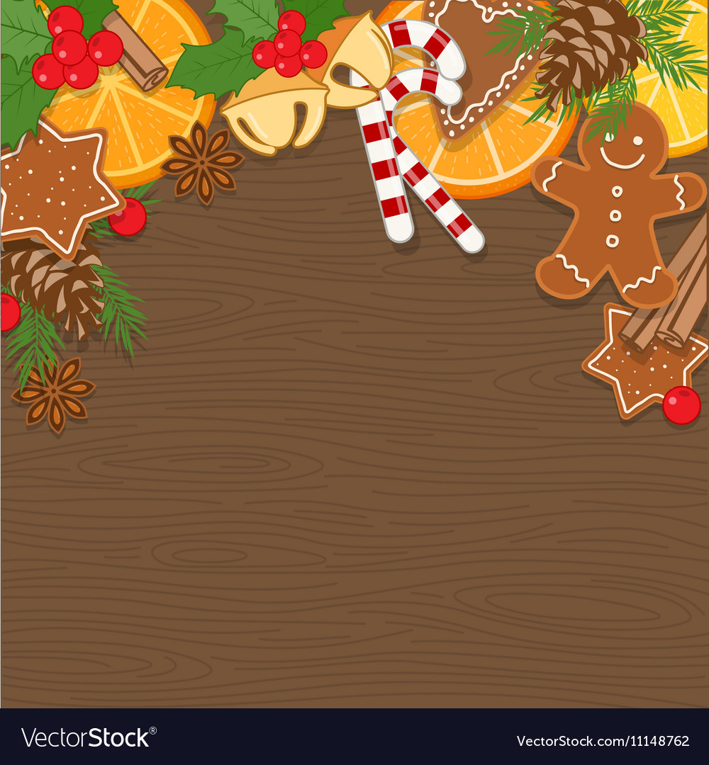 Christmas Background on Wooden Board