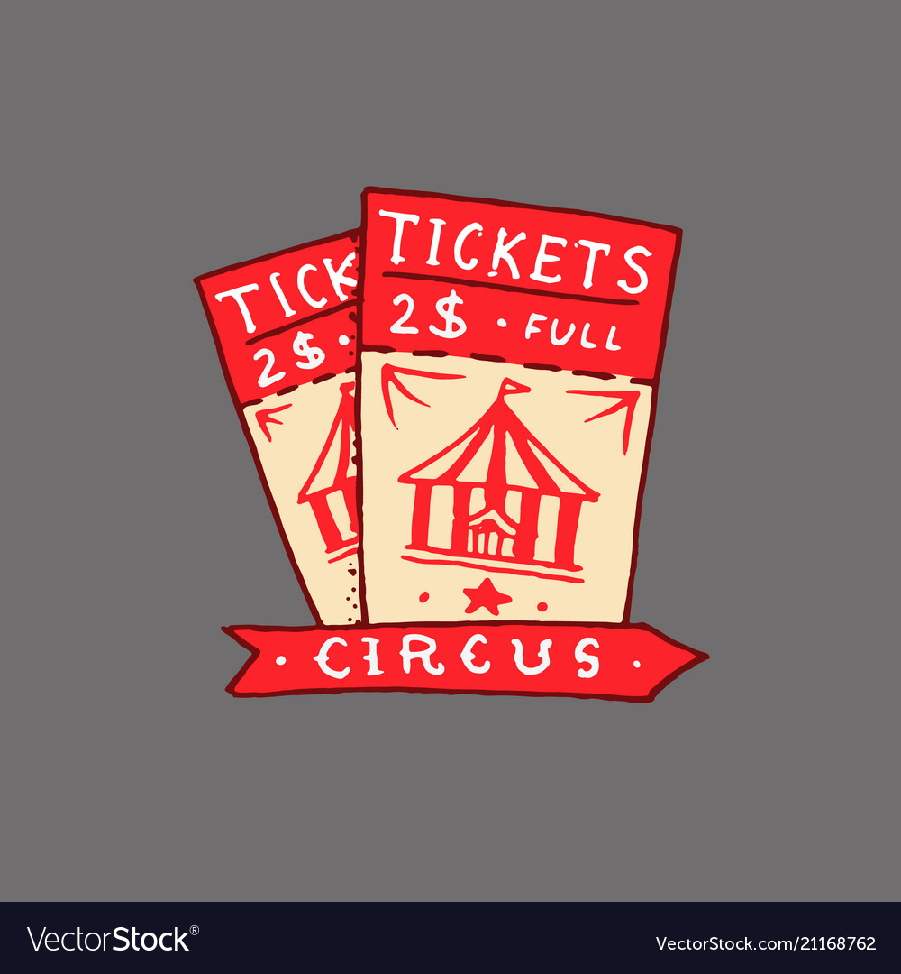 Circus ticket badge retro card vintage carnival