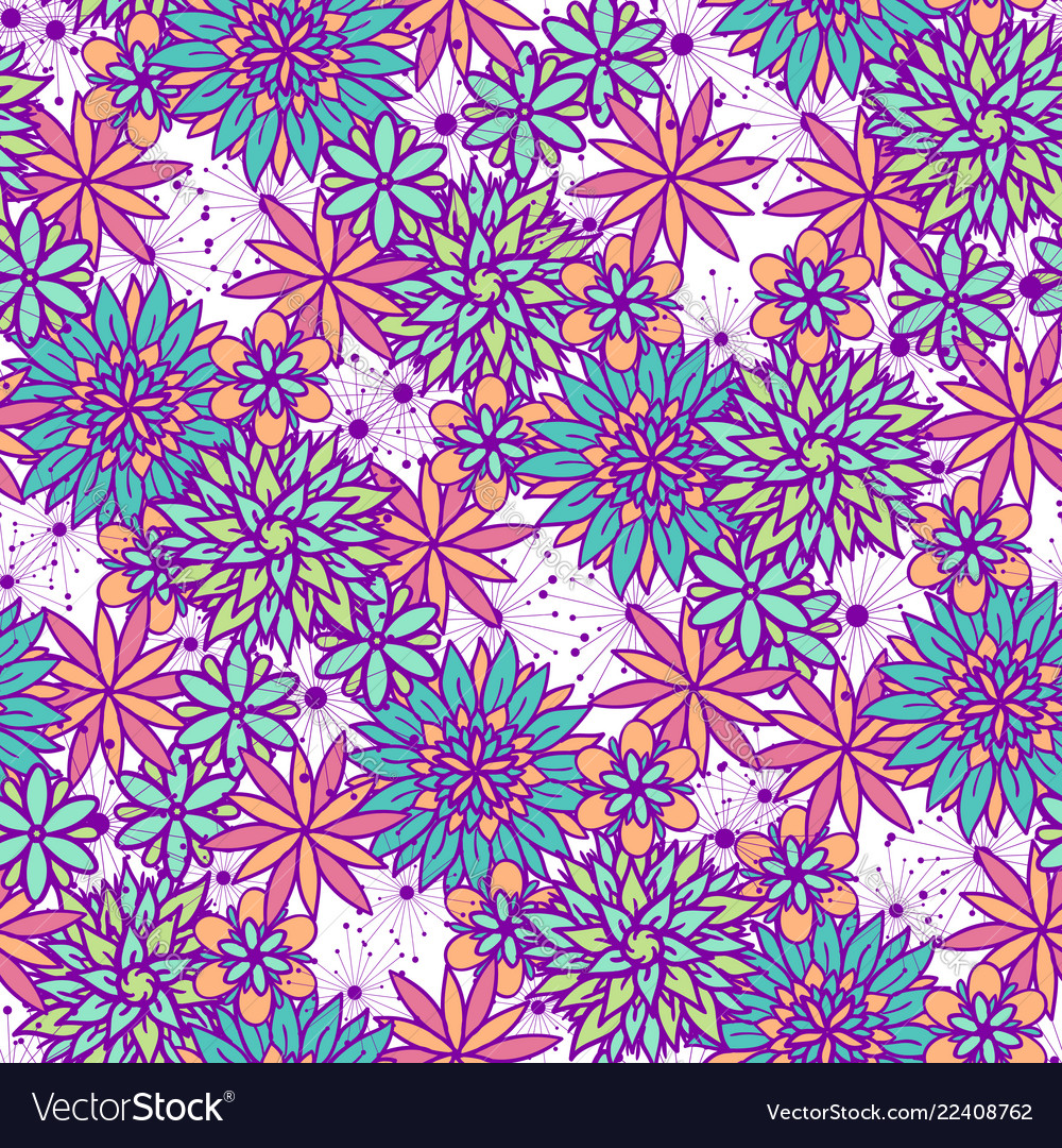 Cute doodle seamless floral pattern