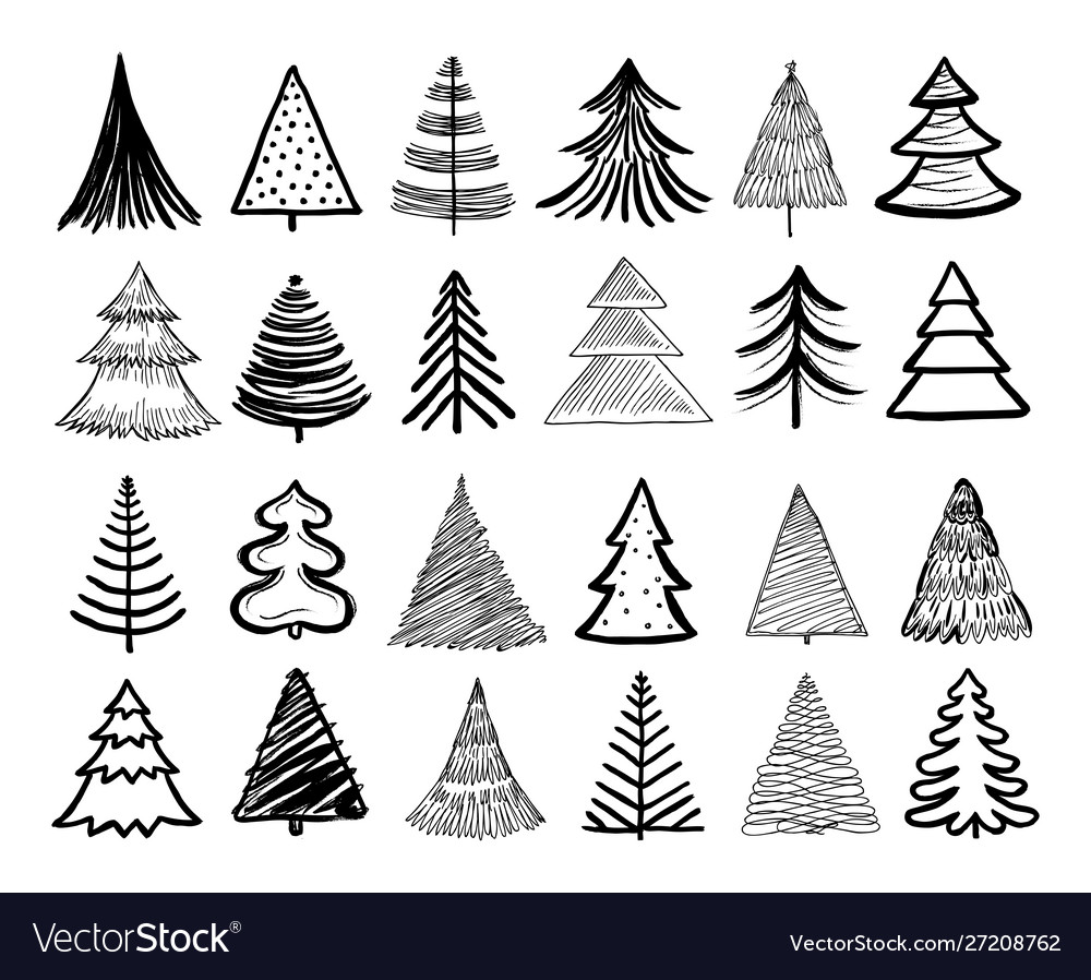Doodle christmas tree winter holiday hand drawn