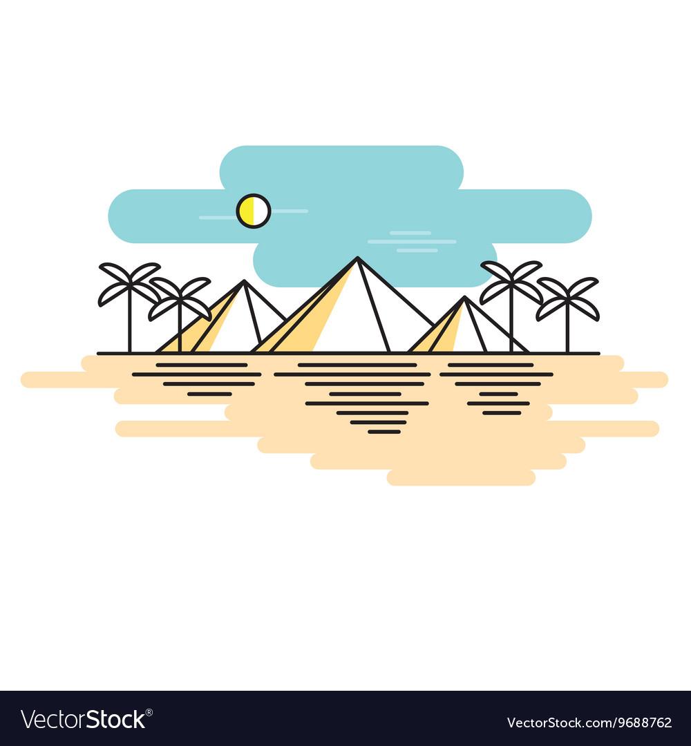 Egyptian pyramids style line flat