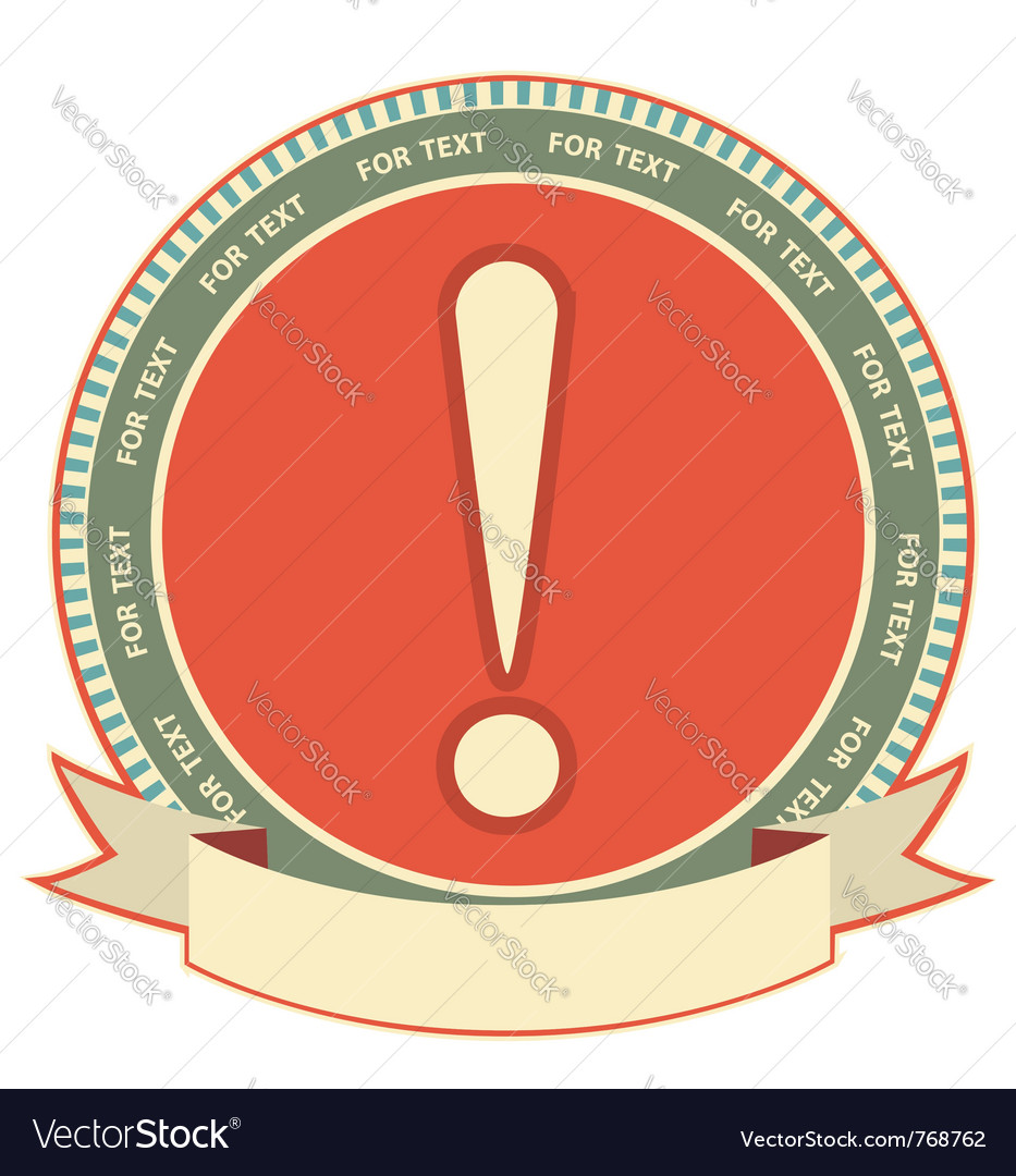 Exclamation mark label vector image