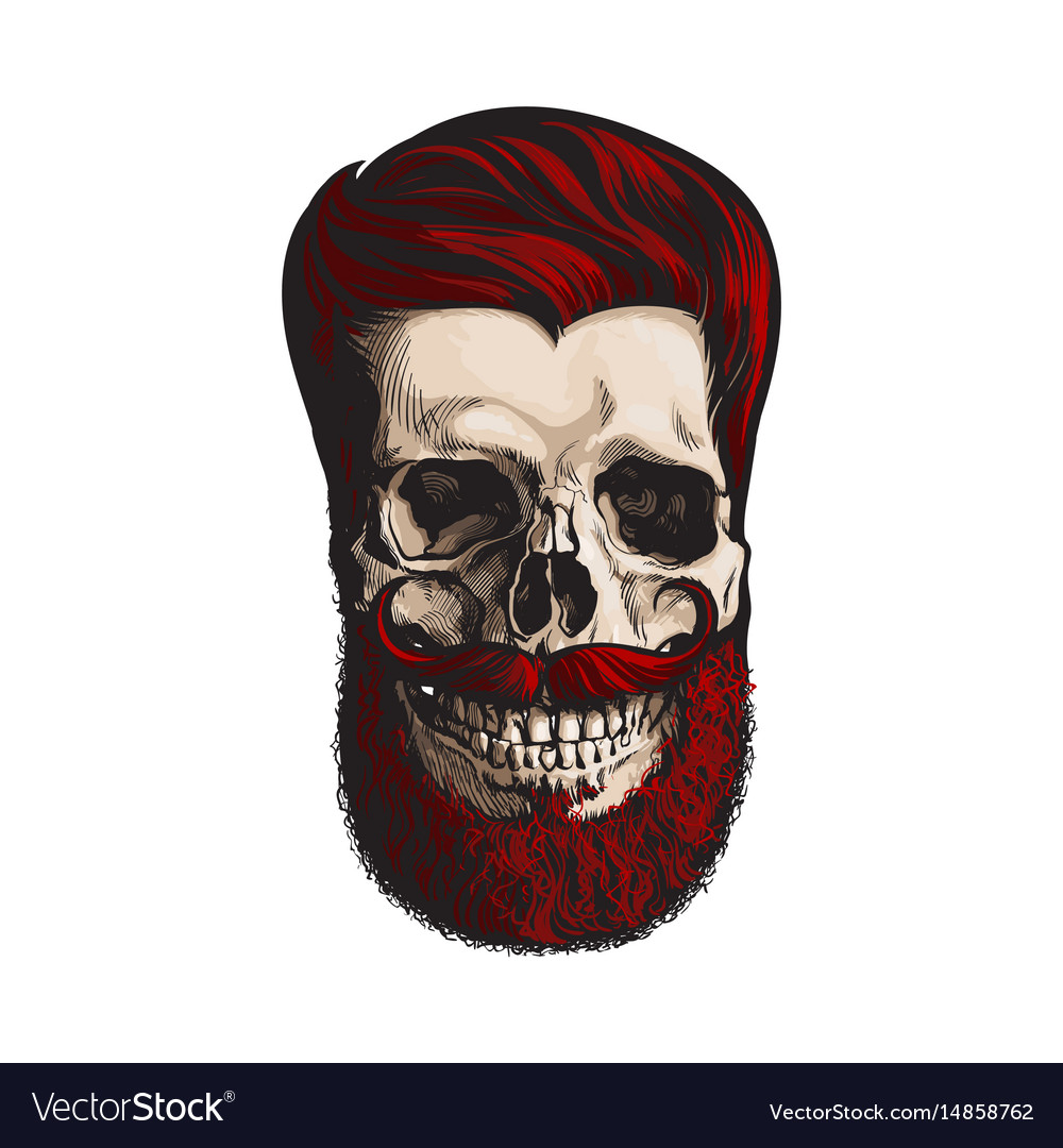 Hand drawn human skull with hipster red hairdo