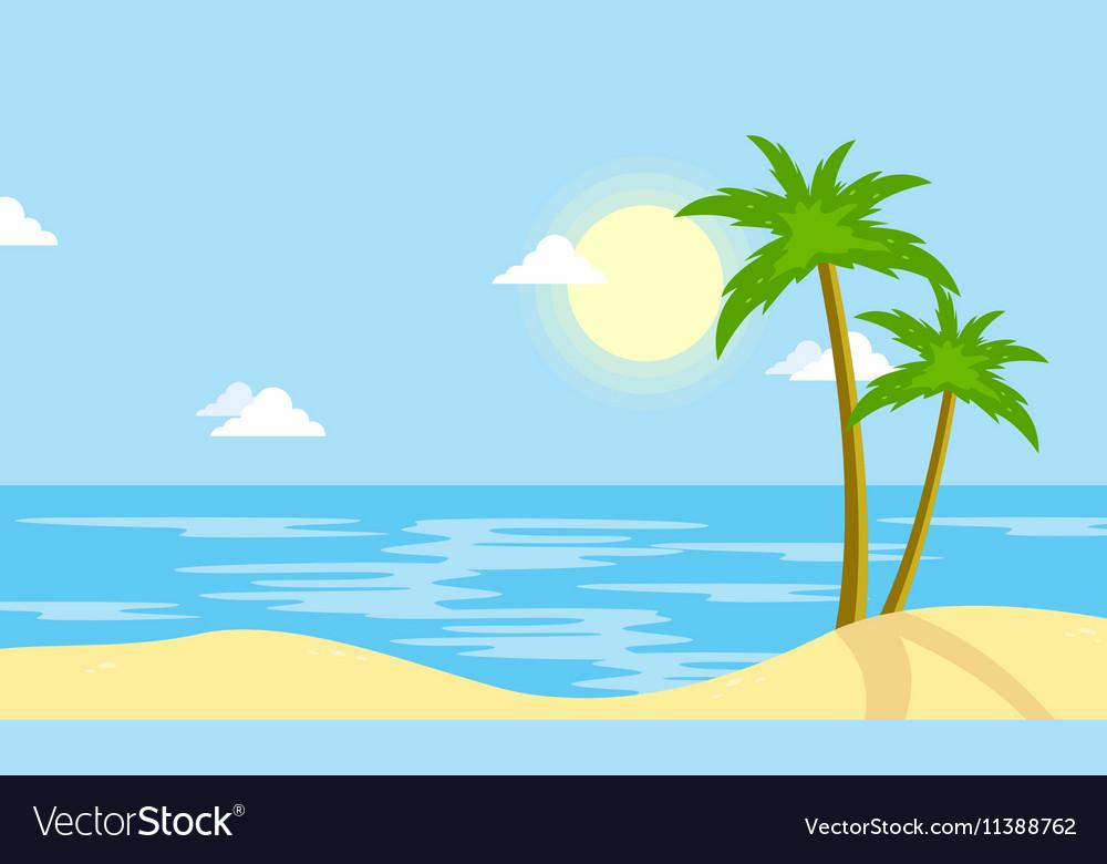Landscape Beach With Sun Cartoon Royalty Free Vector Image