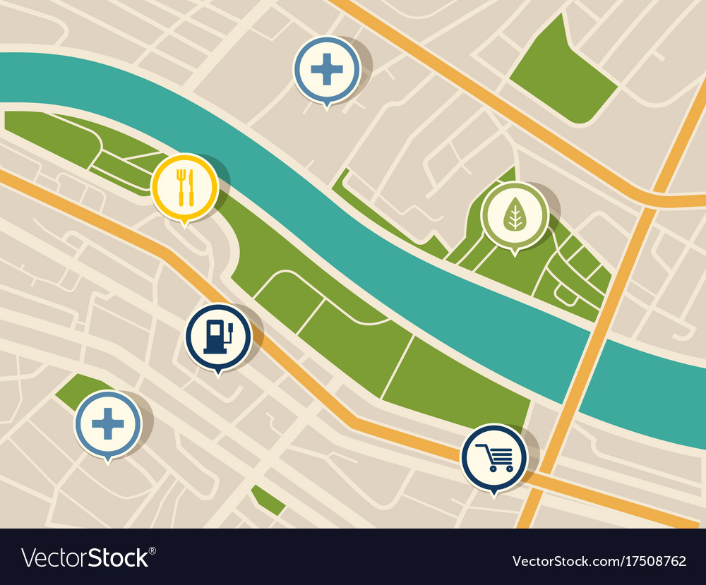 Map with gps pointers for park and shop hospital