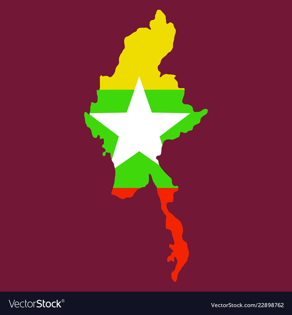 Republic of the union of myanmar flag and map