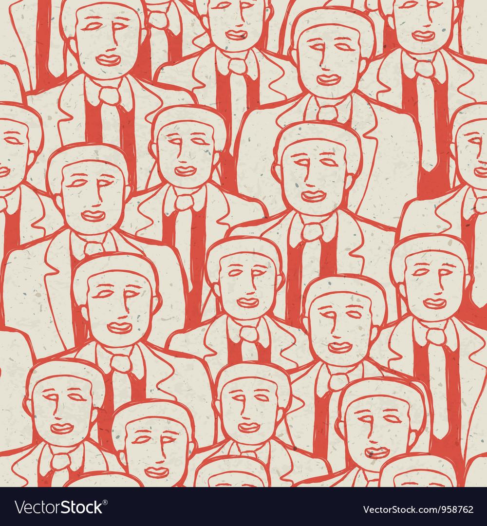 Seamless businessman crowd pattern
