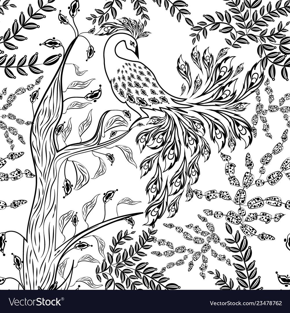 Seamless fairy fantasy garden forest bird