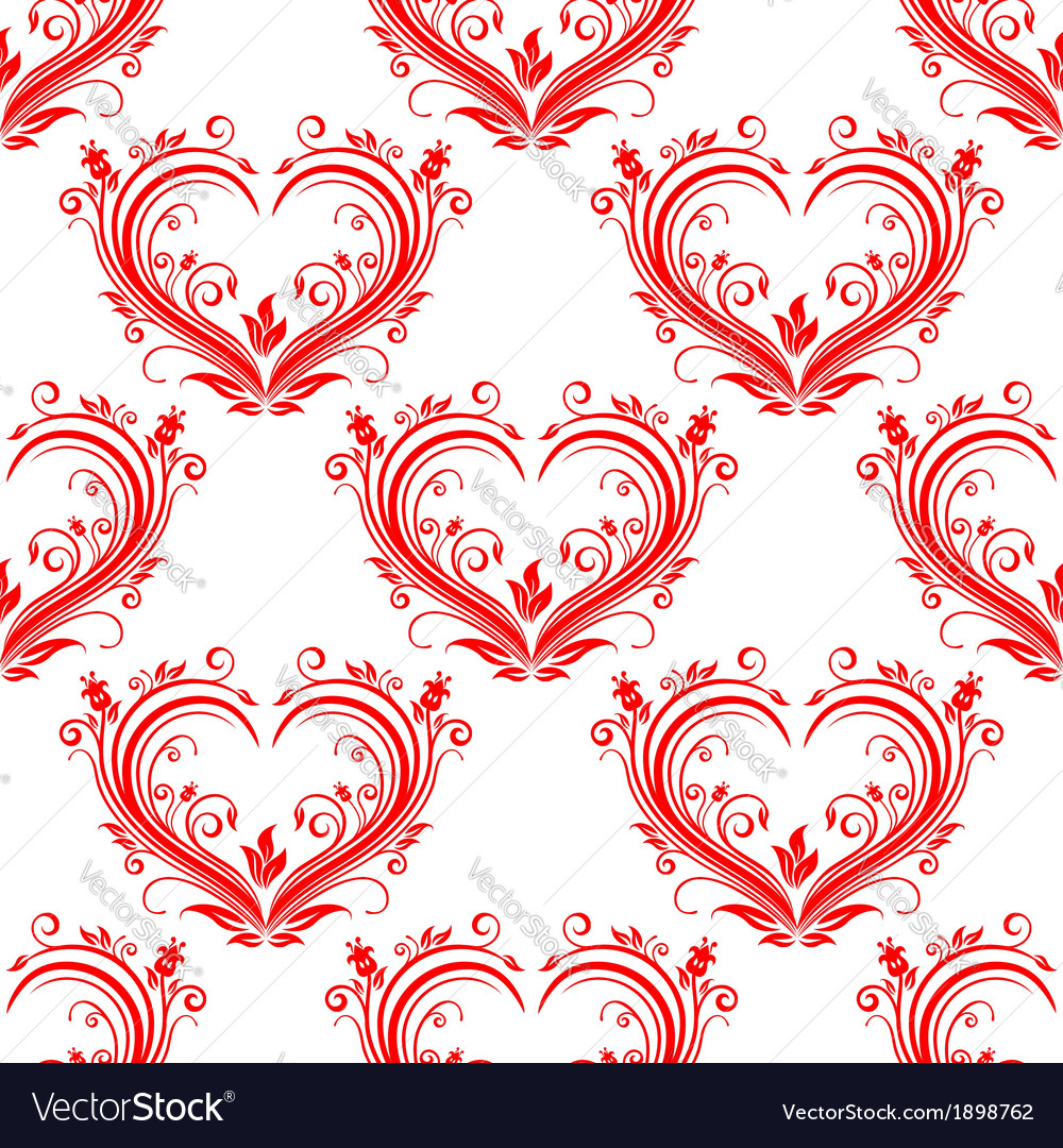 Seamless pattern ornate floral hearts