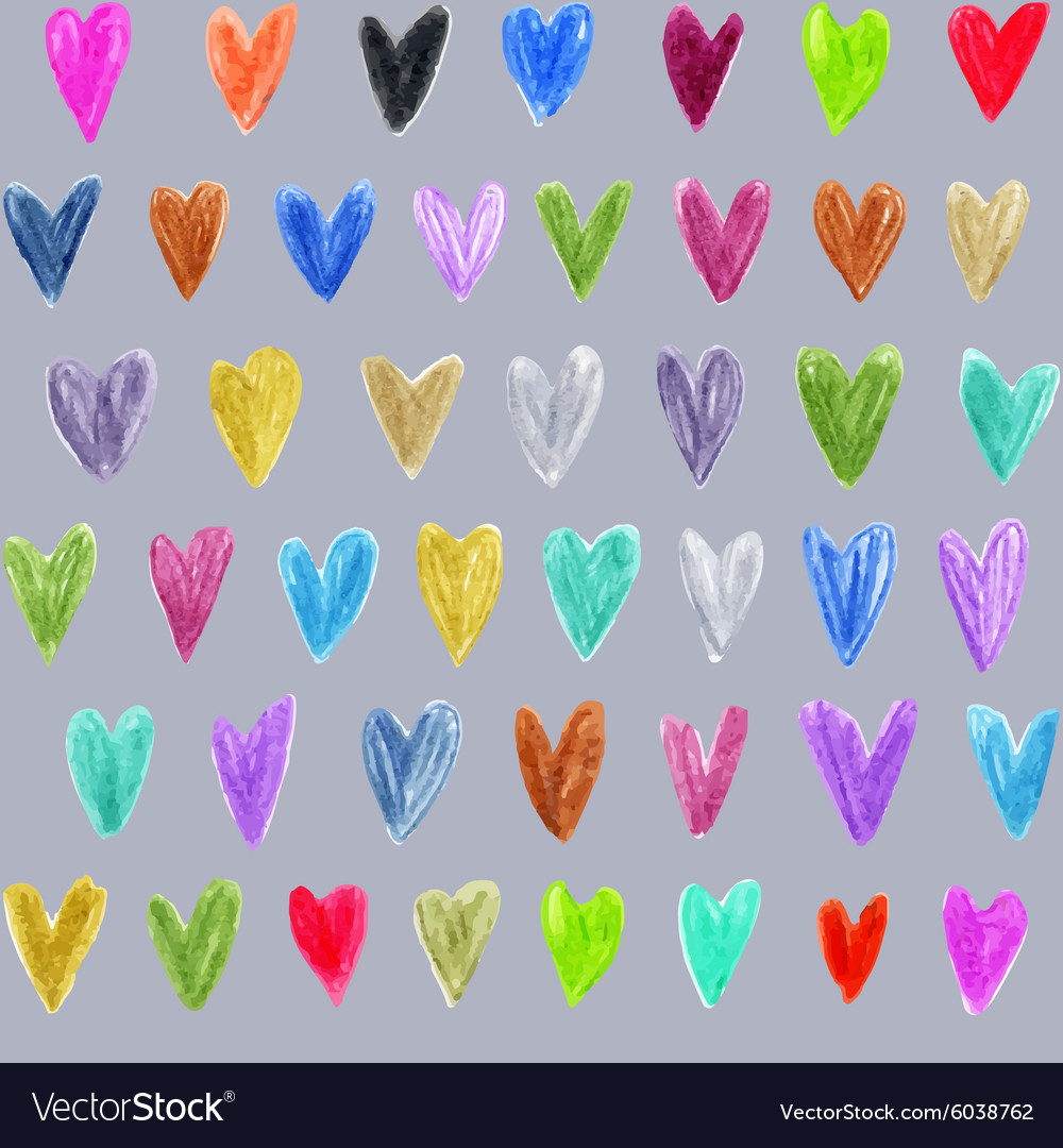 Seamless pattern with colored hand drawn hearts