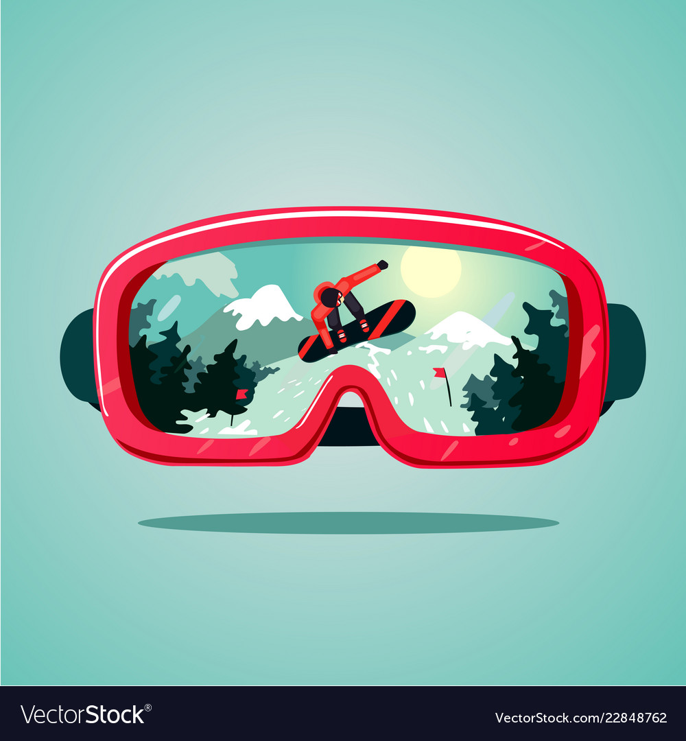 Snowboard protective mask with snowboarder on