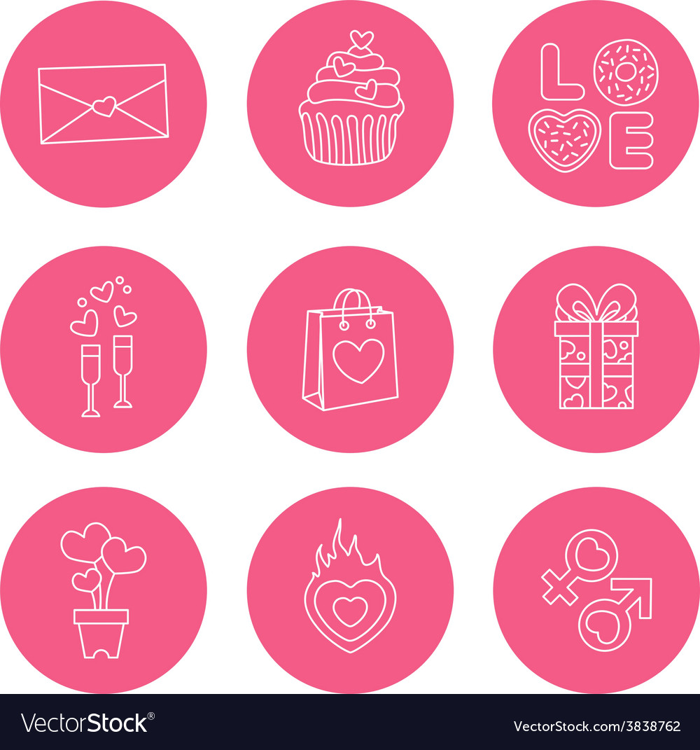St Valentine Day icons thin line style flat