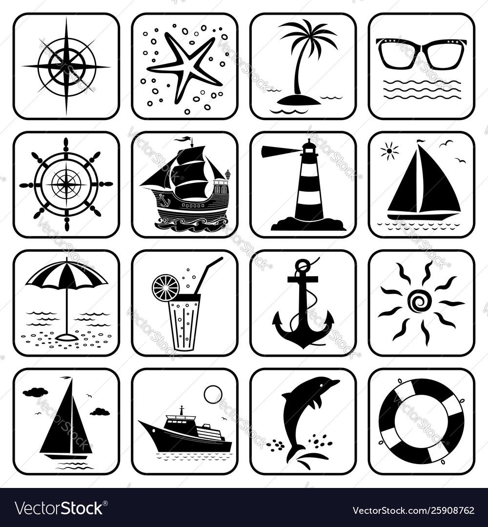 Summer sea vacation travel icons set