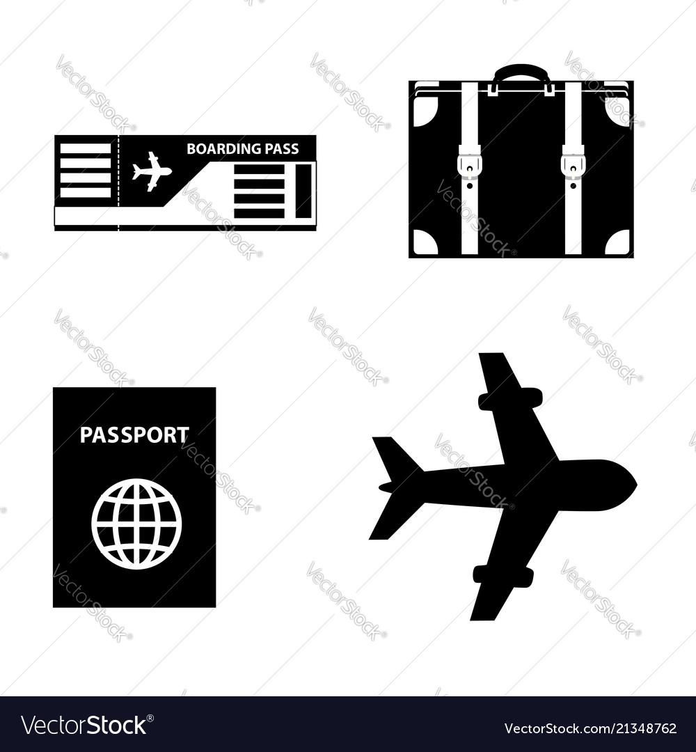 Summer travel icon set isolated on white