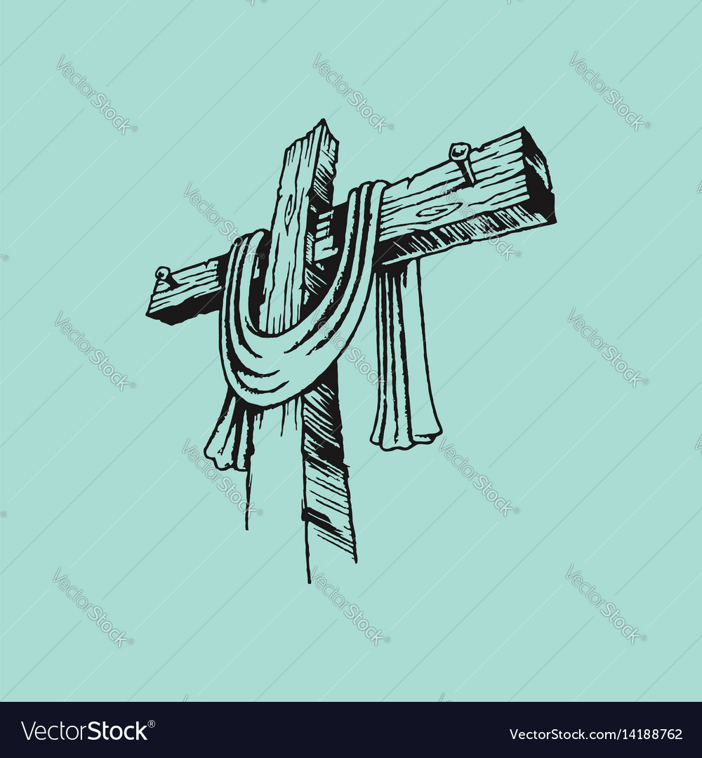 The painted cross of the lord jesus christ vector image