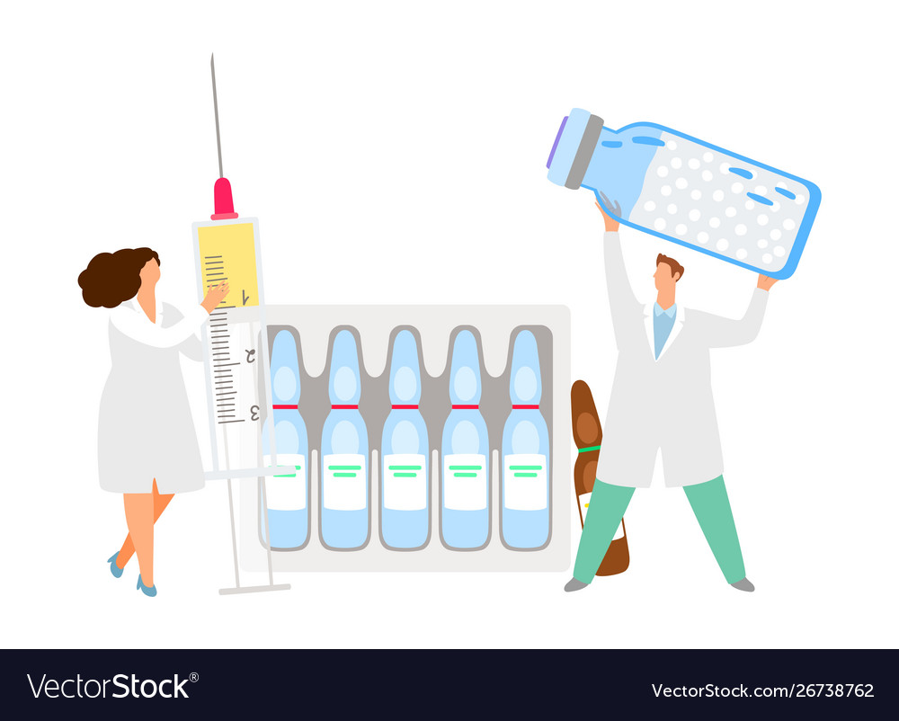 Vaccination concept doctors with syringe