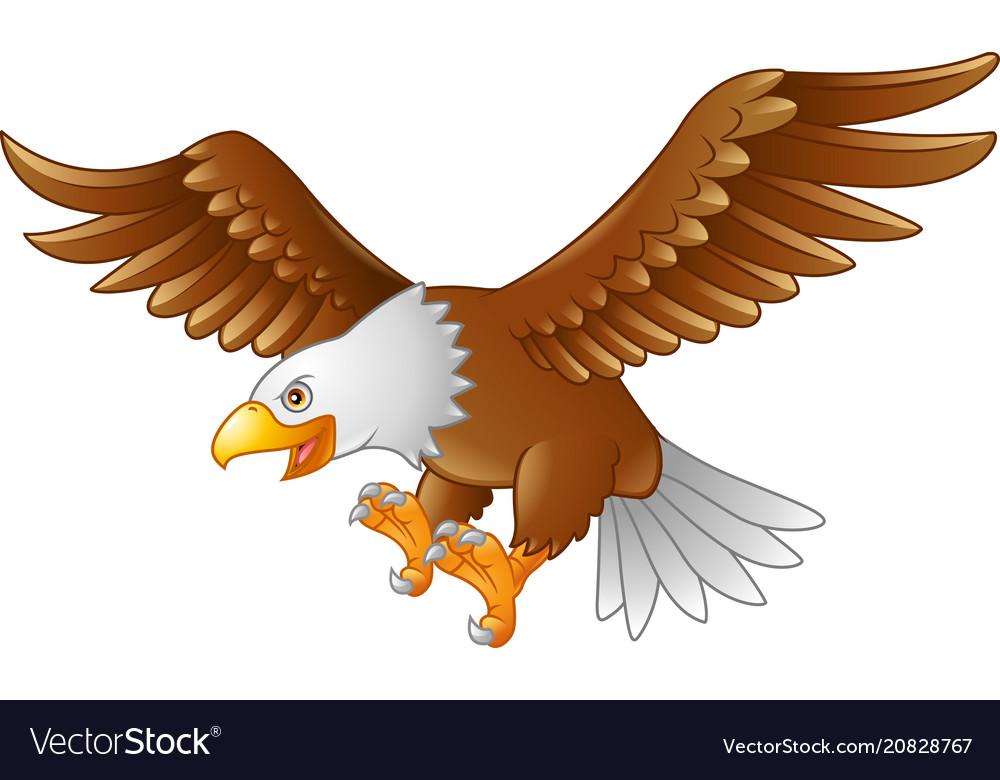Cartoon eagle flying vector image