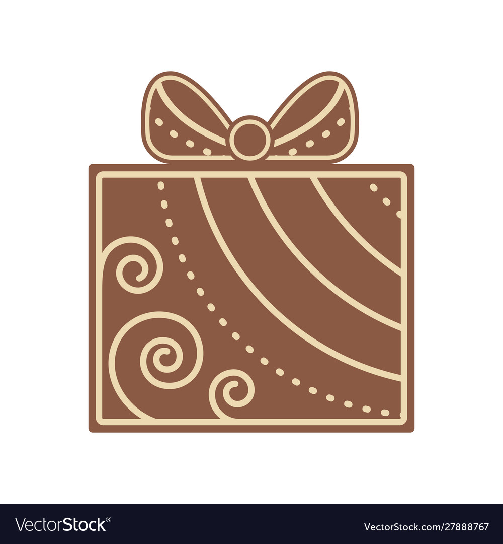 Christmas gift shape gingerbread flat design icon
