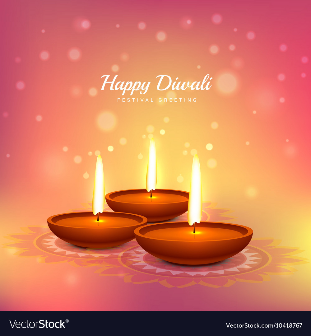 Diwali festival greeting card design background vector image m4hsunfo