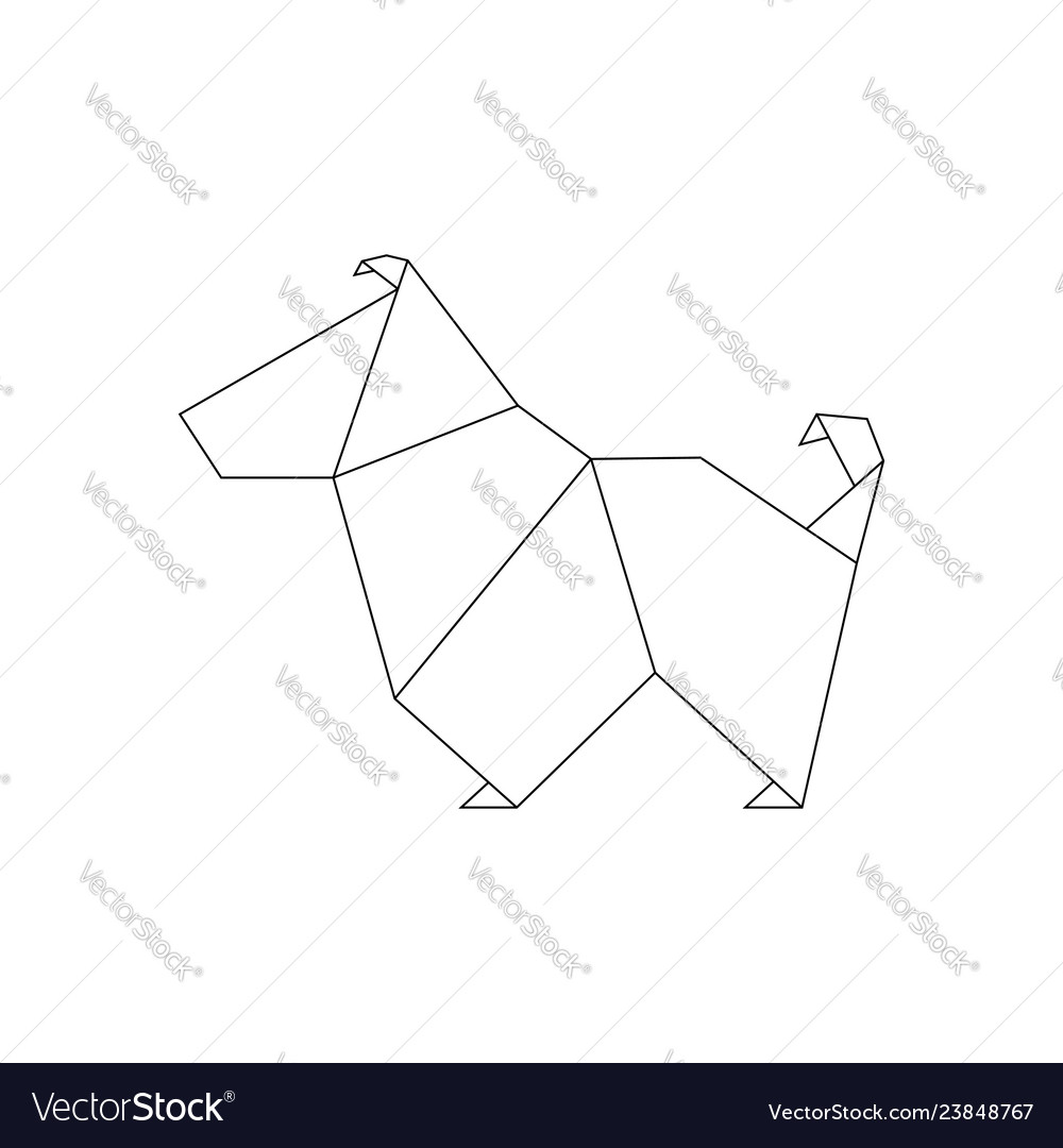 Line dog in origami style