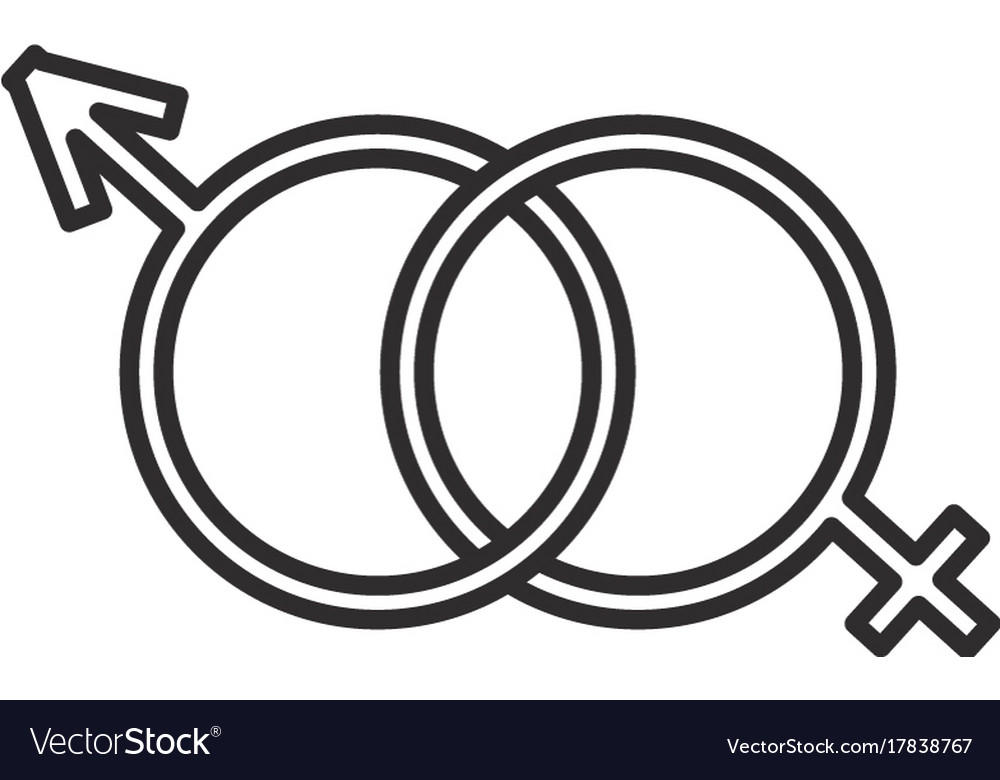 Male and female genders line icon sign