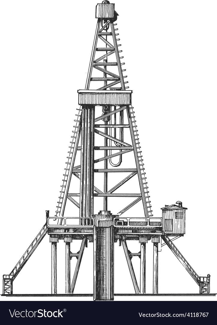 Oil rig logo design template petroleum or