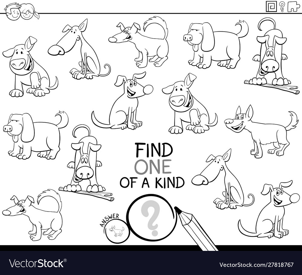 One a kind game with dogs coloring book page