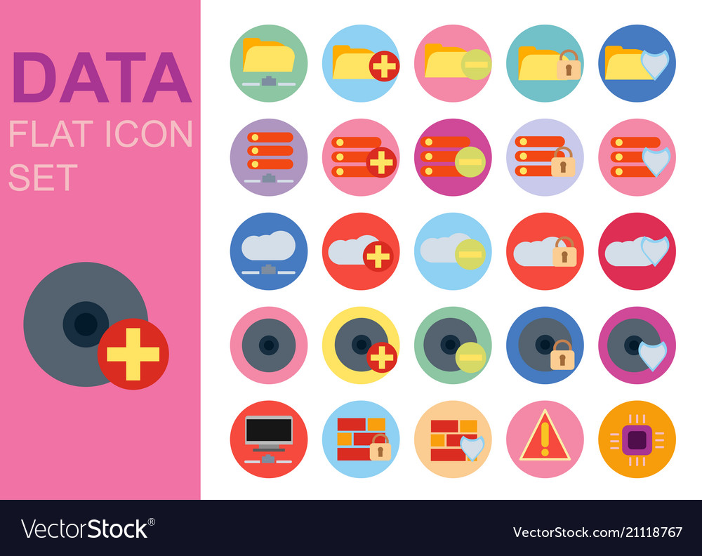Protect data universal flat technology icons set
