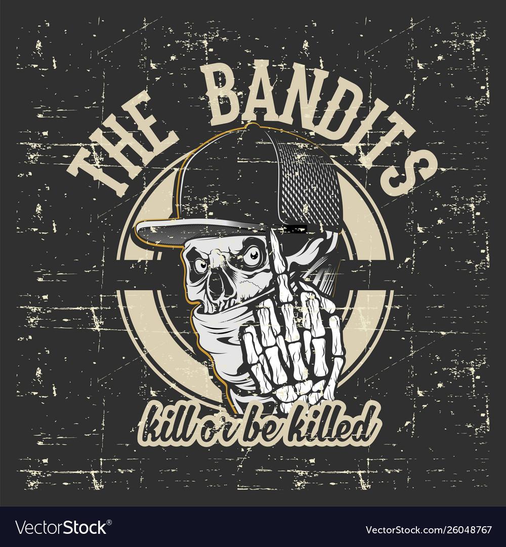 Skull bandits wearing cap and bandana hand drawing