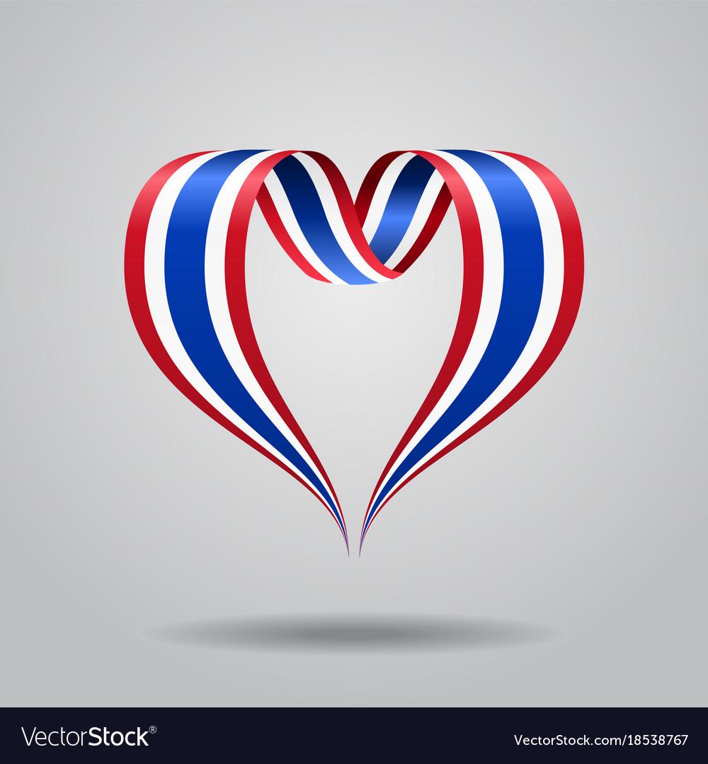 Thai flag heart-shaped ribbon vector image